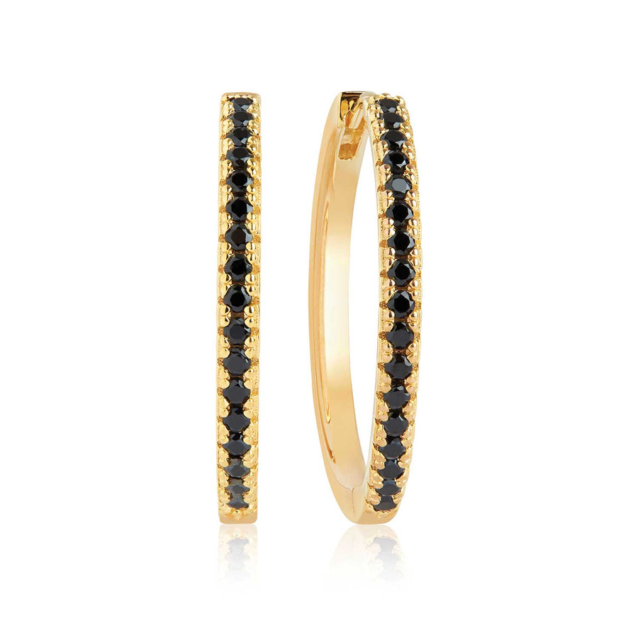 Earring Ellera X-Grande with black zirconia - 18k gold plated