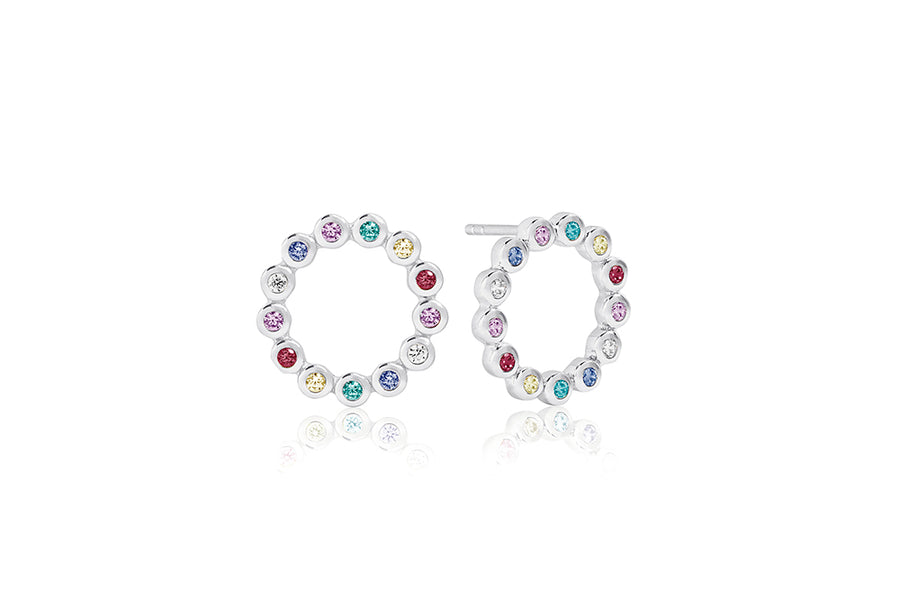 Earrings Sardinien Circolo Piccolo with multicoloured zirconia