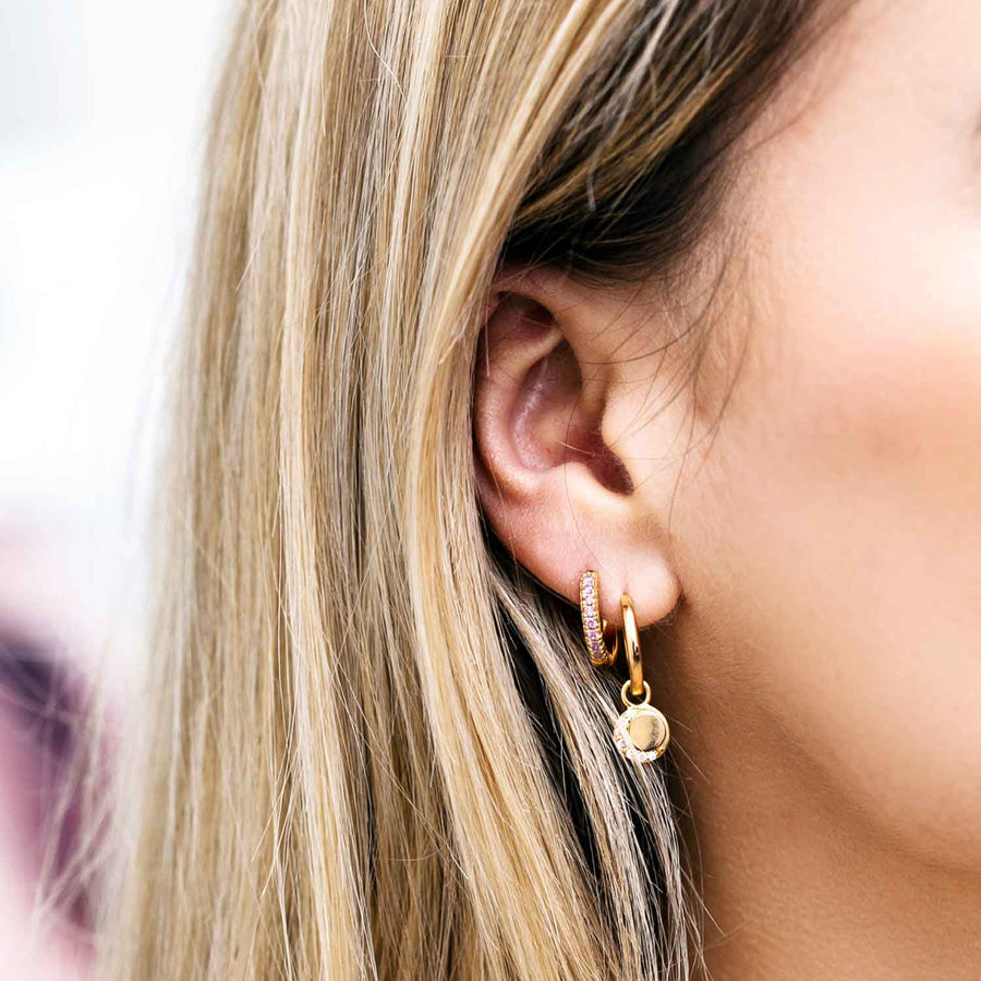 Earrings Ellera - 18k gold plated with pink zirconia