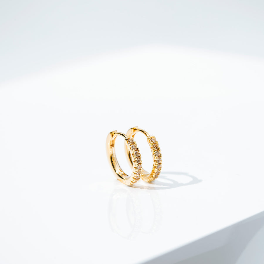 Earrings Ellera - 18k gold plated with yellow zirconia