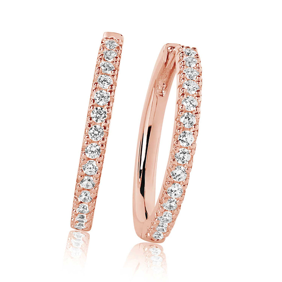 Earrings Ellera Grande - 18k rose gold plated with white zirconia