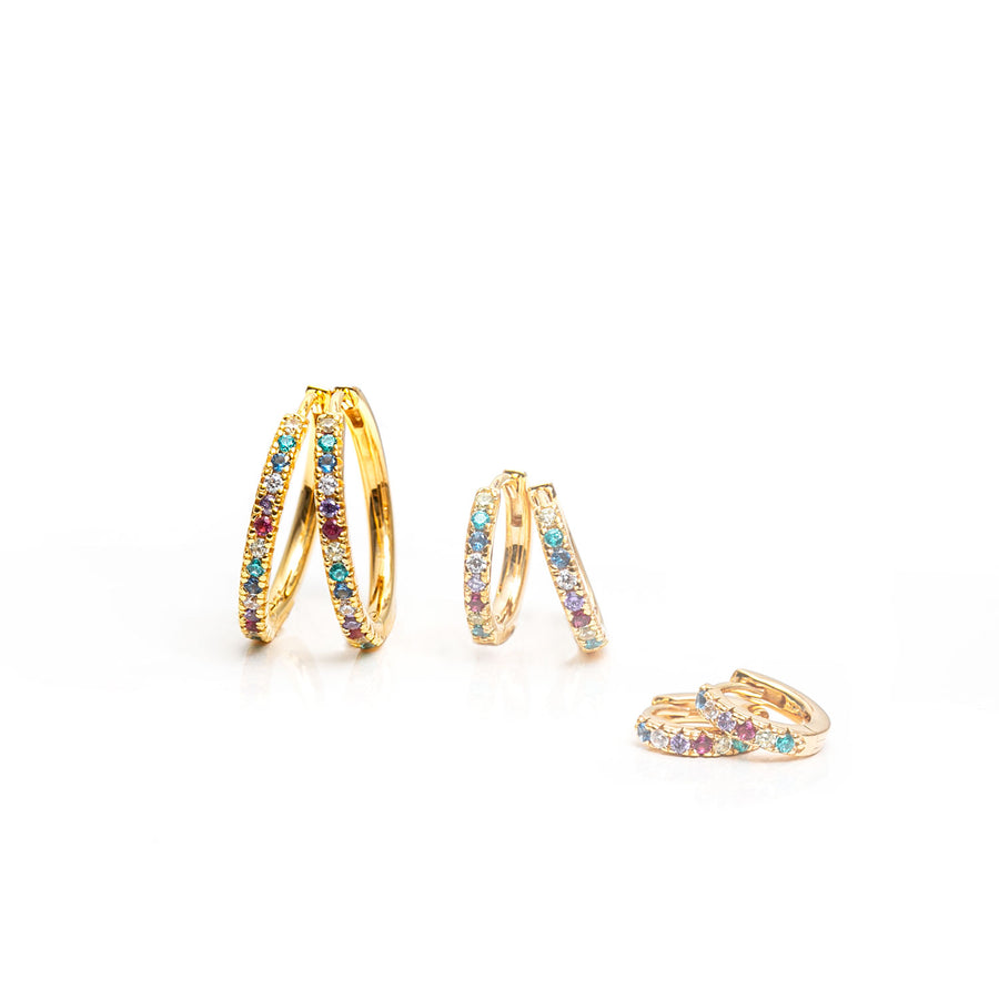Earrings Ellera Grande - 18k gold plated with multicoloured zirconia