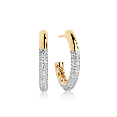 Earring Cannara Grande with white zirconia - 18k gold plated