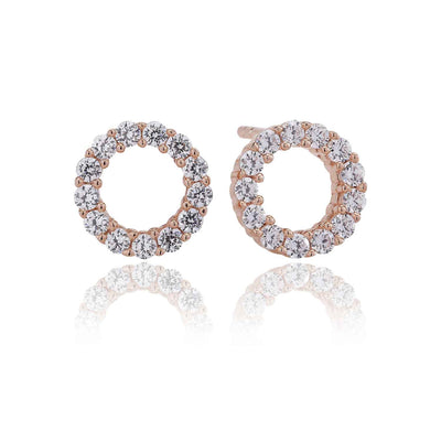Earrings Biella Uno Piccolo - 18k rose gold plated with white zirconia