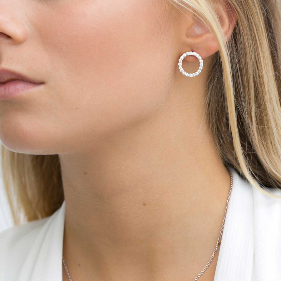 Earrings Biella Uno with white zirconia