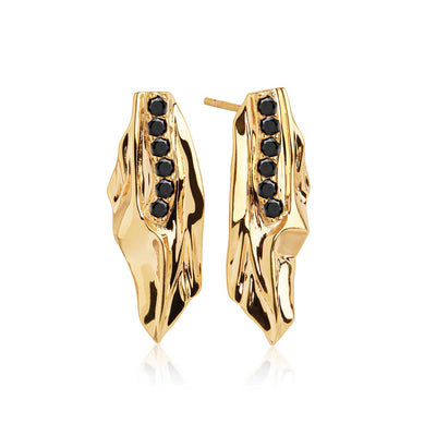 Earrings Vulcanello - 18k gold plated with black zirconia