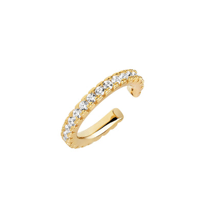 Ear cuff Ellera Medio - 18k gold plated with white zirconia