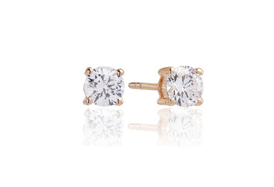 Earrings Princess Round - 18k rose gold plated with white zirconia