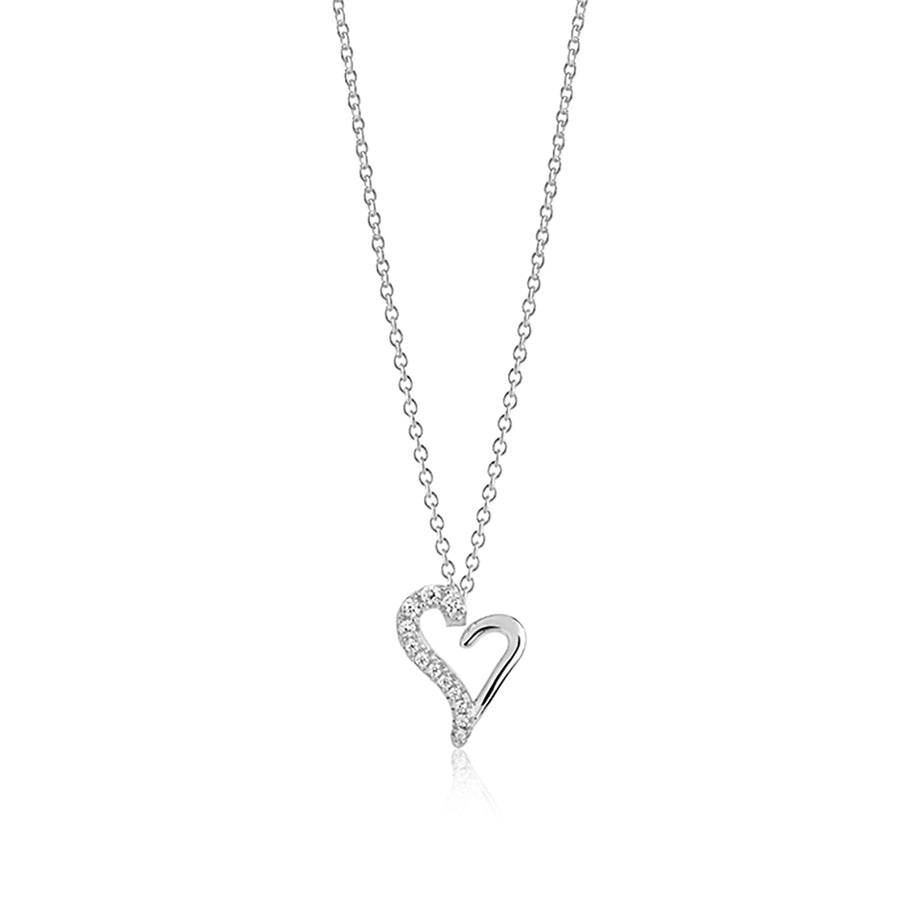 Necklace Valentine with white zirconia