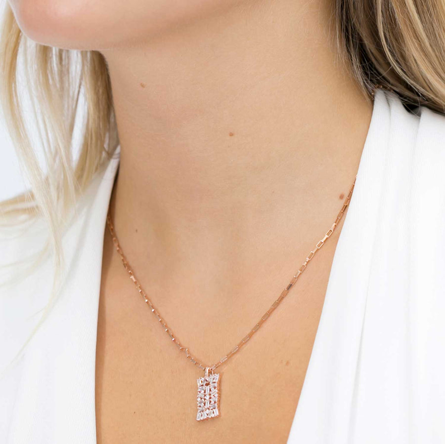 Pendant Antella - 18k rose gold plated with white zirconia