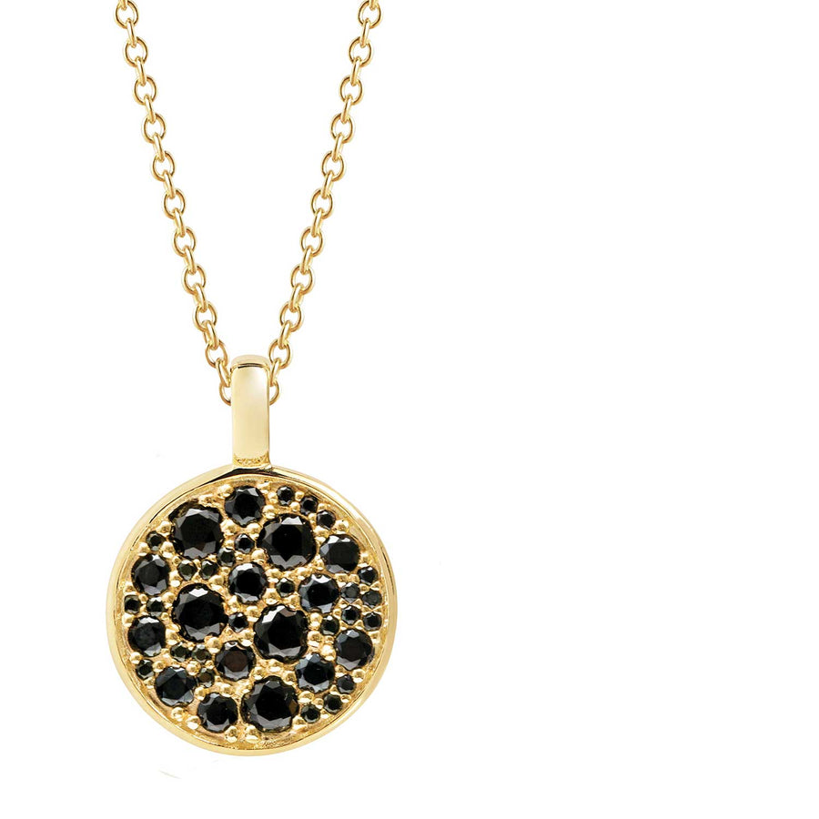 Pendant Novara - 18k gold plated with black zirconia (45-60cm)