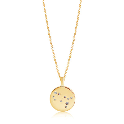 Pendant Zodiaco Gemini - 18k gold plated with white zirconia