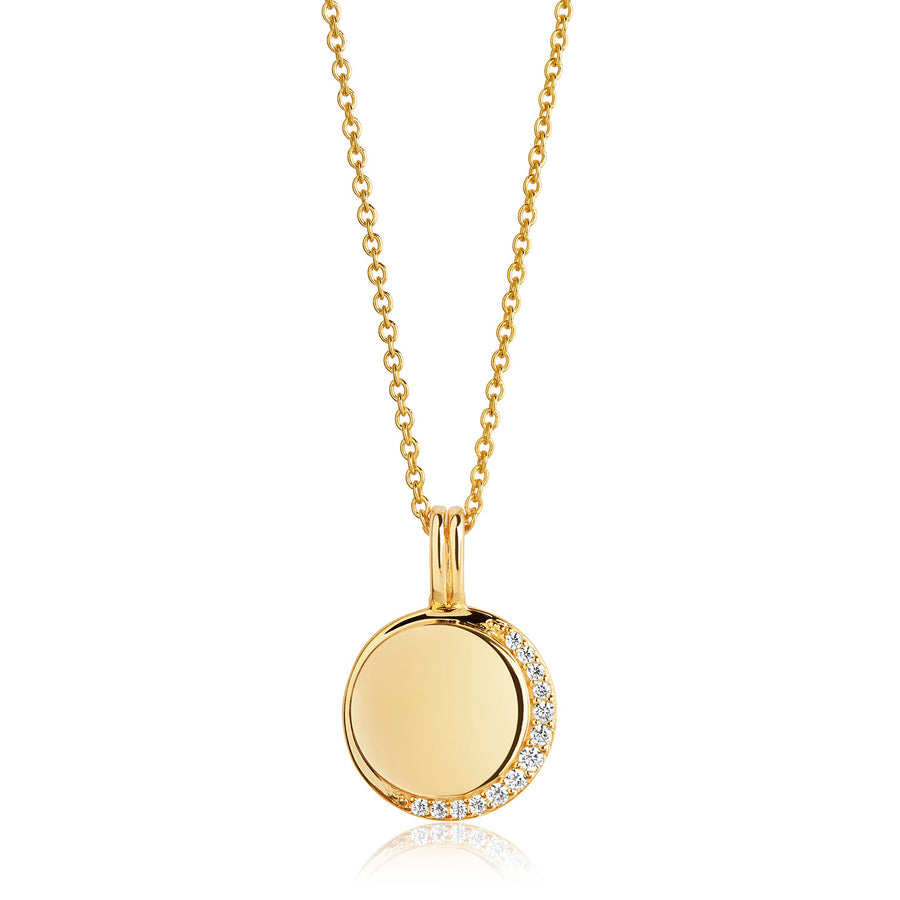 Pendant Portofino - 18k gold plated with white zirconia