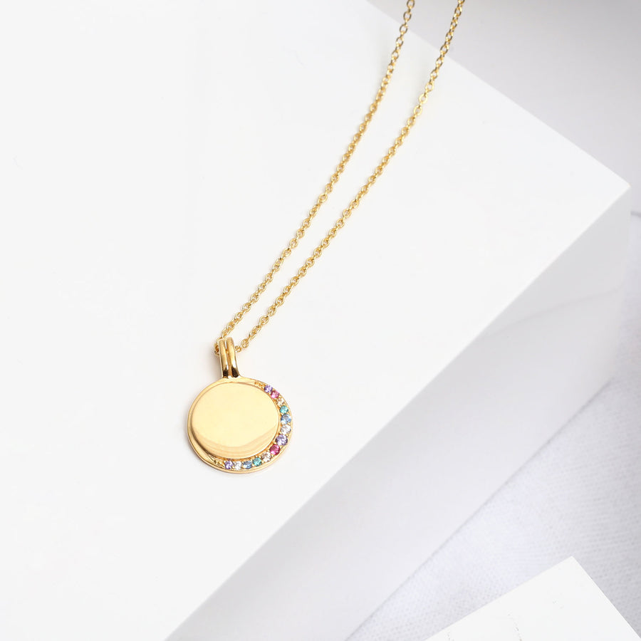 Pendant Portofino - 18k gold plated with multicoloured zirconia