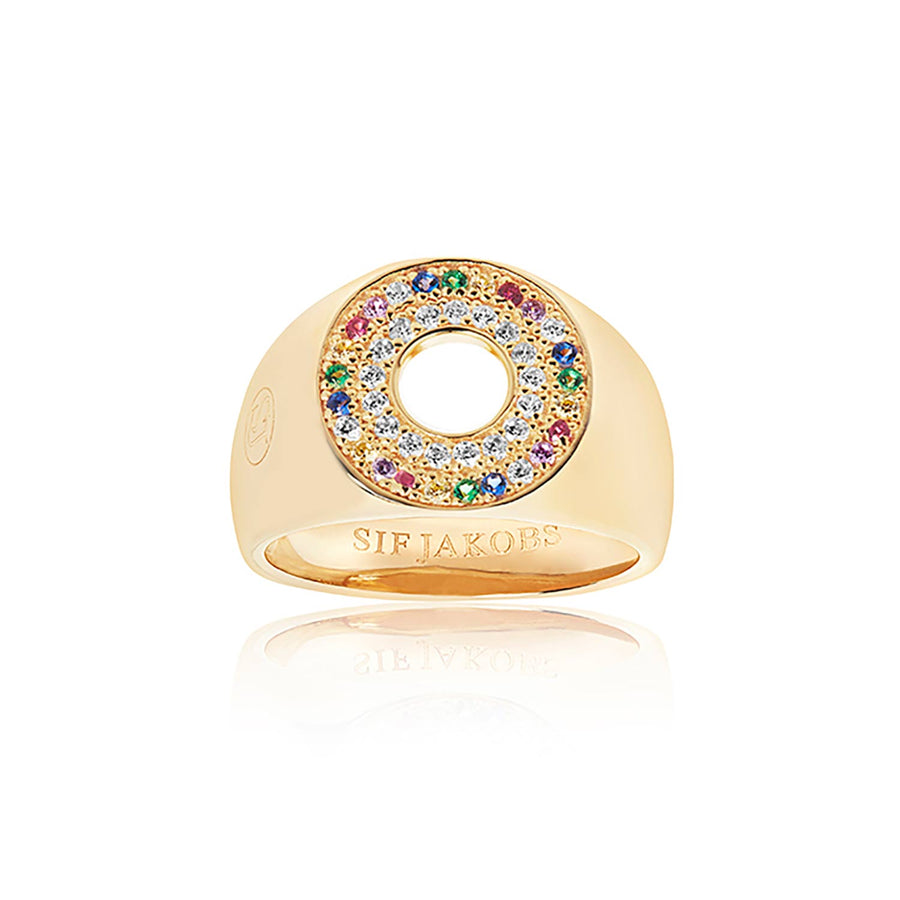 Signet Ring Valiano - 18k gold plated with multicoloured zirconia