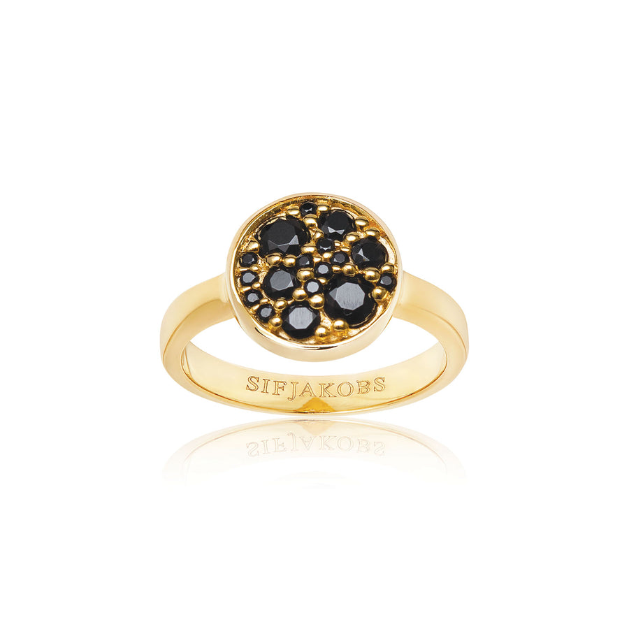 Ring Novara - 18k gold plated with black zirconia (50)