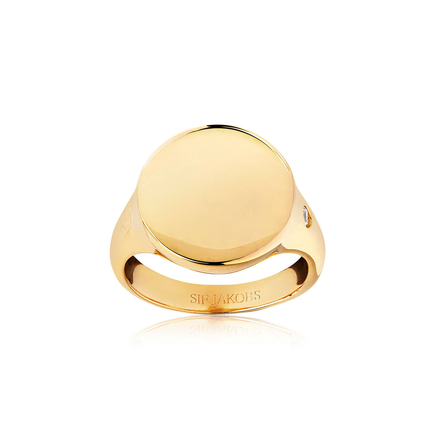 Ring Follina Pianura Grande - 18k gold plated with white zirconia