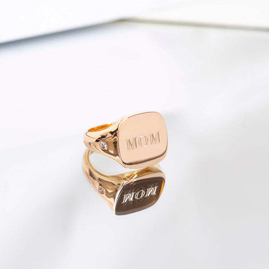 Ring Follina Pianura Quadrato Piccolo - 18k gold plated with white zirconia