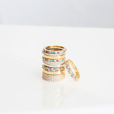 Ring Corte Uno - 18k gold plated with multicoloured zirconia (50)