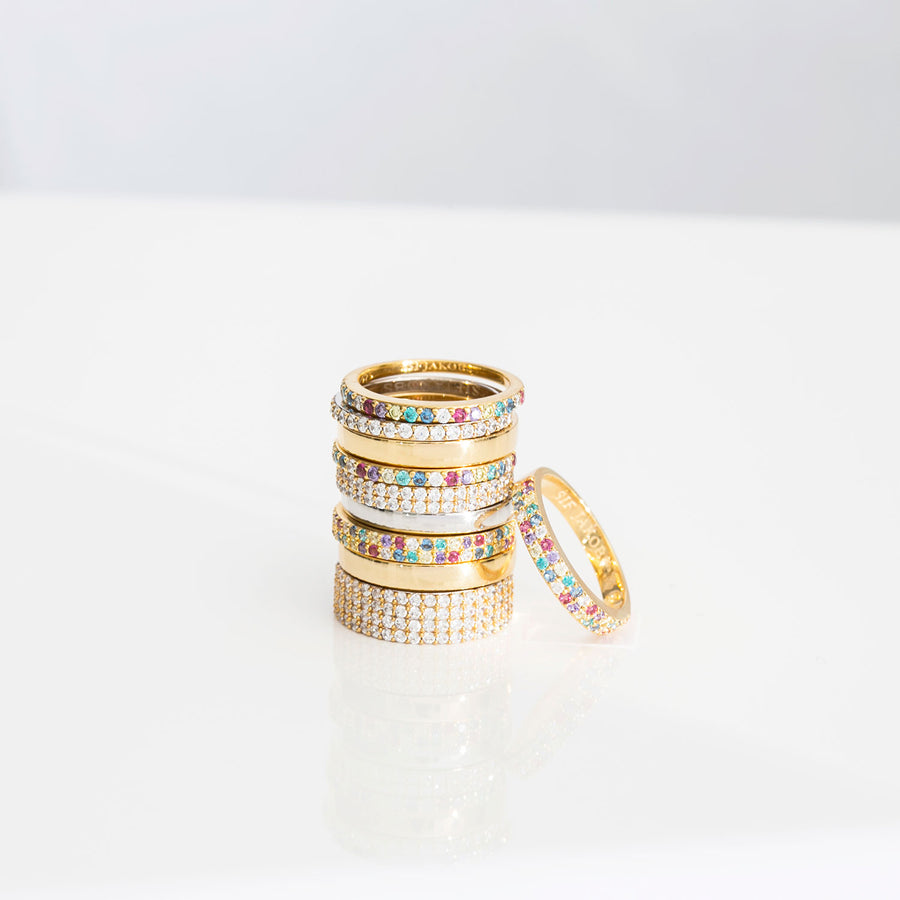 Ring Corte Uno - 18k gold plated with multicoloured zirconia