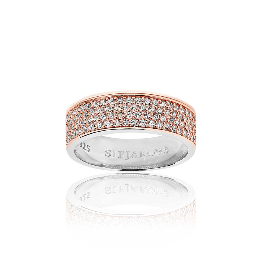 Ring Felline Piccolo - 18k rose gold plated with white zirconia