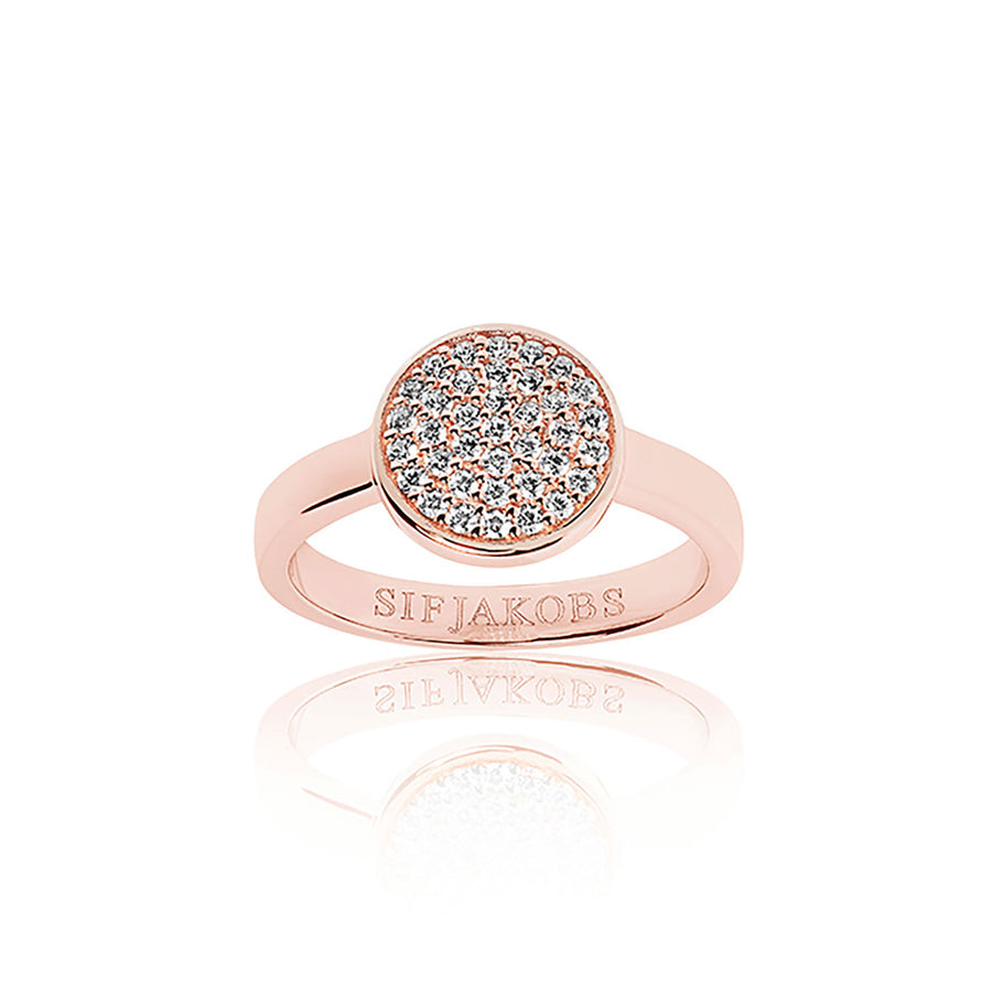 Ring Sacile Uno - 18k rose gold plated with white zirconia (50)