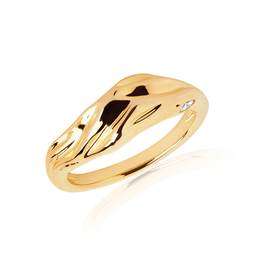 Ring Vulcanello - 18k gold plated with white zirconia