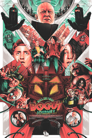 Bill and Ted's Bogus Journey - screen print movie poster - by artist matt ryan tobin - Skuzzles