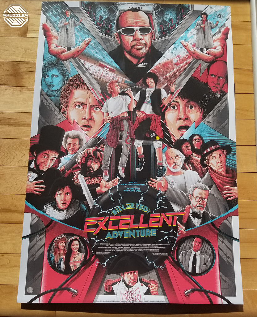 Bill & Ted's Excellent Adventure by Matt Ryan Tobin - Limited Edition Screen Print Movie Poster - Skuzzles