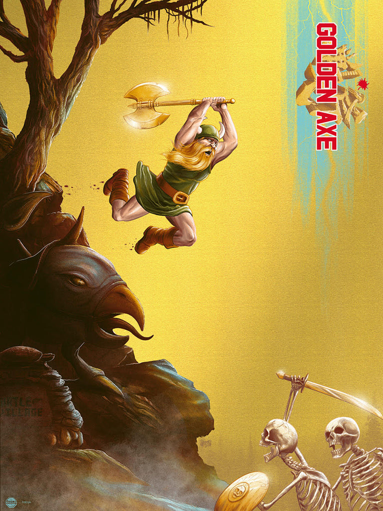 Golden Axe (SEGA) by Mike Saputo - Limited edition screen print video game poster - Gold Foil Variant