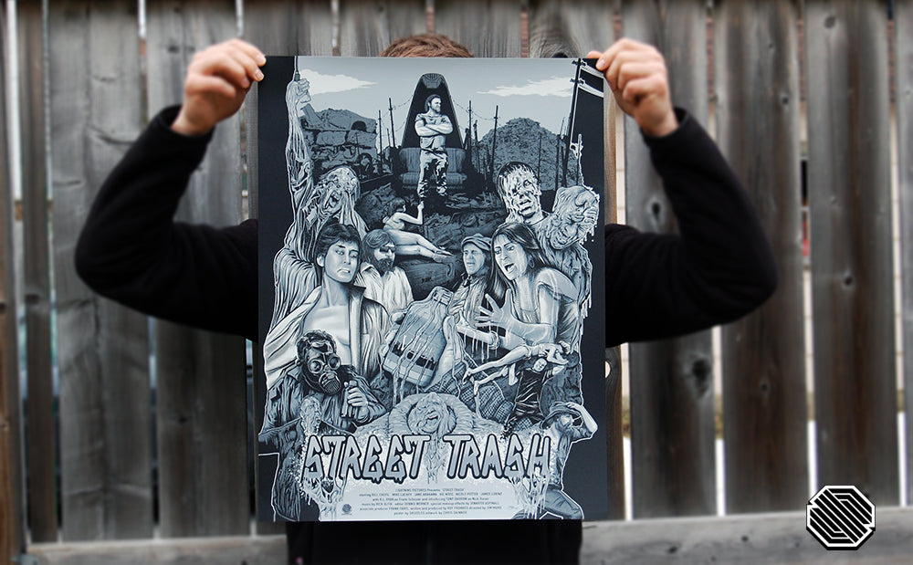 Skuzzles variant black and white limited edition screen print movie for Street Trash by Chris Skinner