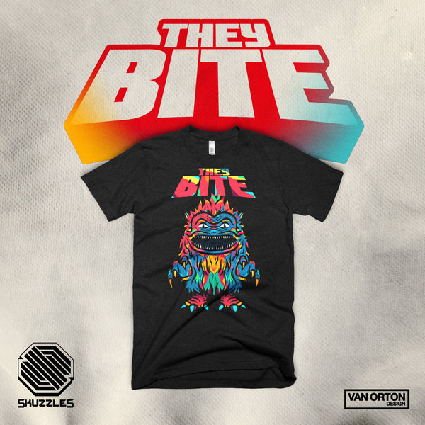 They Bite - Critters - Skuzzles limited edition t-shirt featuring artwork by van orton design