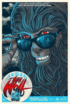 Limited edition screen print movie poster - ghoulish gary- Teen Wolf (1985) - Full Moon Variant