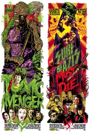 Limited edition screen print movie poster  - The Toxic Avenger - Surf Nazis Must Die - Double Feature Variant