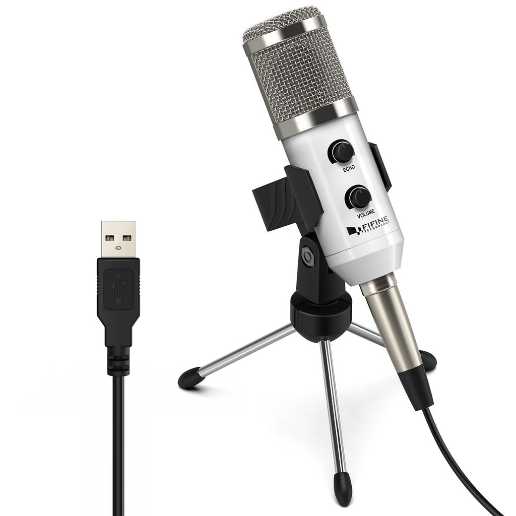 FIFINE K056 USB Microphone with Volume and Echo Controls for Gaming and Podcast on PC (UK Only)