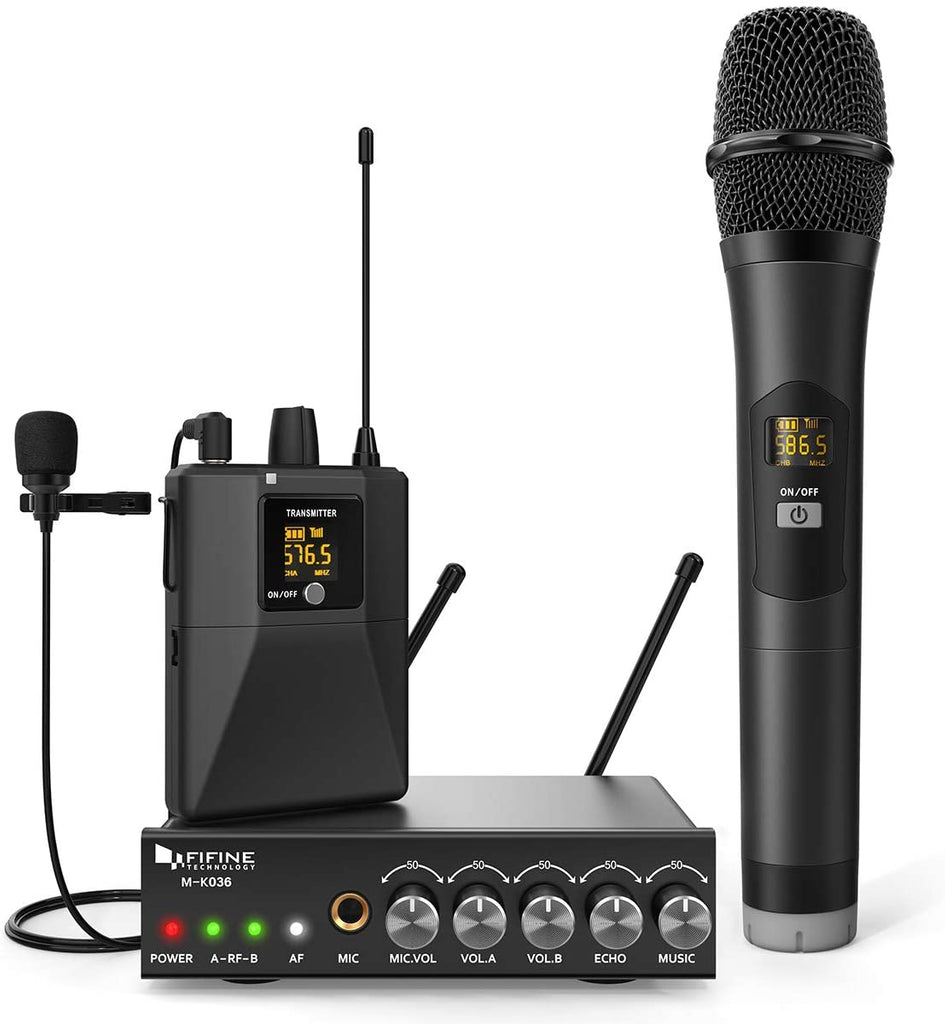 FIFINE K036A Wireless Microphone System, Handheld and Lapel Microphones for Gig, Presentation