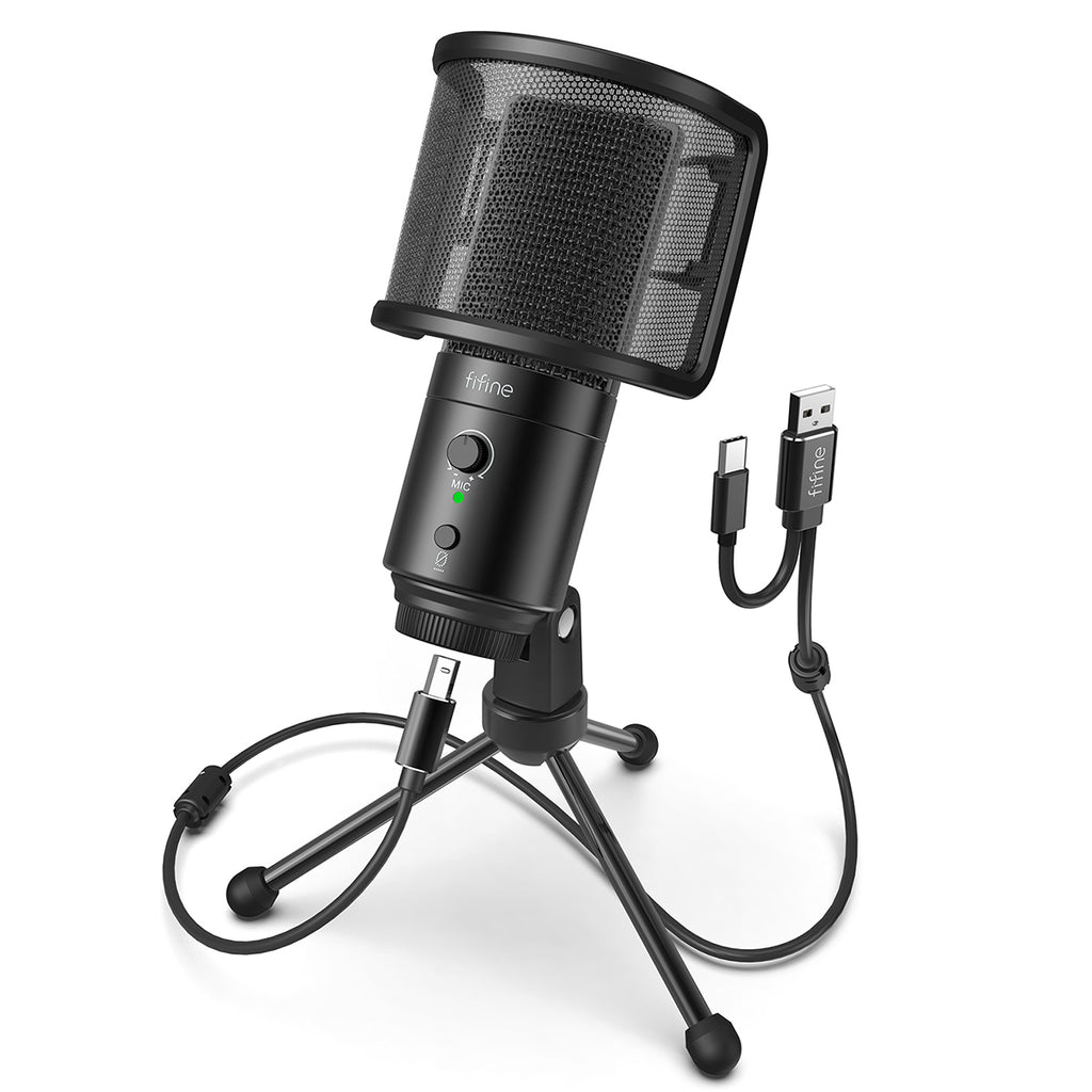 FIFINE K683A Type C USB Mic with A Pop Filter, A Volume Dial, A Mute Button & A Monitoring Jack for Recording