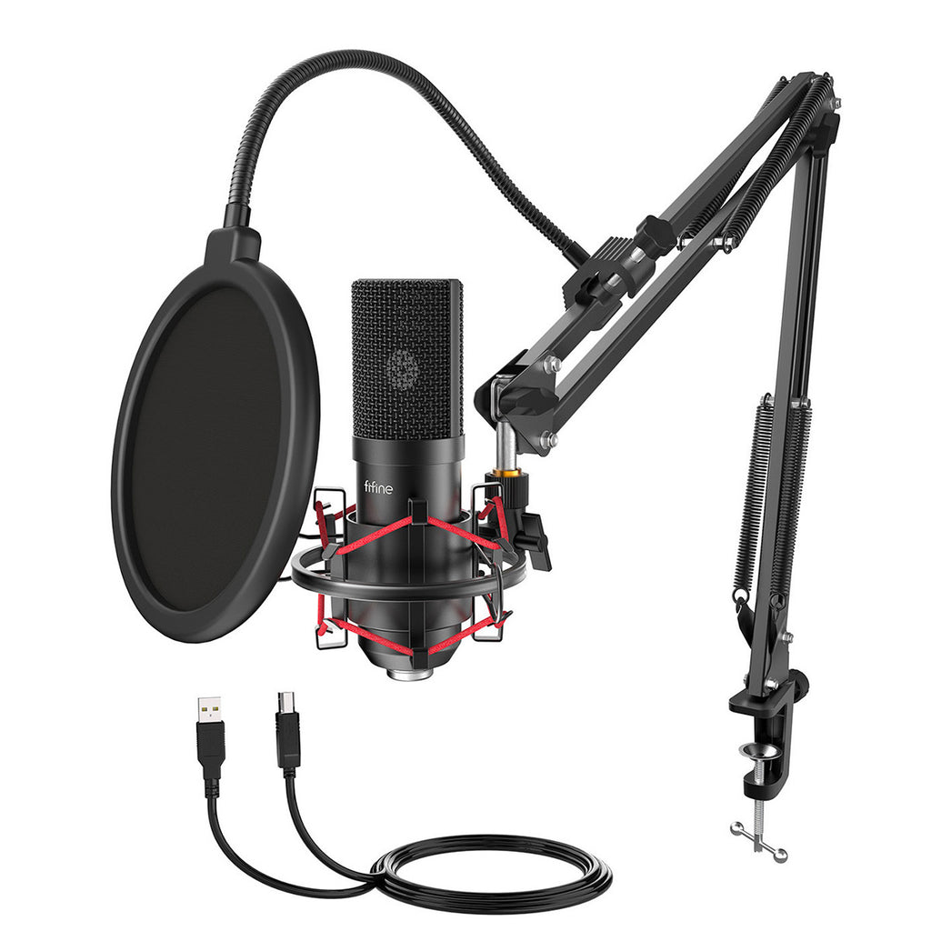 FIFINE T732 USB Microphone Kit with 16mm Capsule, Arm Stand, Shock Mount, Pop Filter for Podcasting
