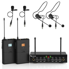 FIFINE Dual Wireless System with Lavalier & Head-worn Microphones for Speech, Presentation, Gig-K038