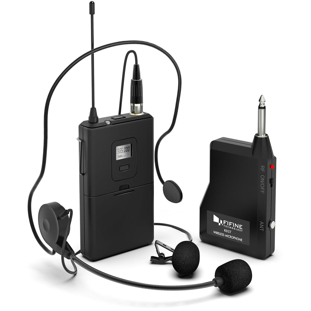 FIFINE K037B Wireless Microphone System with Lapel Mic and Headset for Speaker, Camera, Android and iPhone