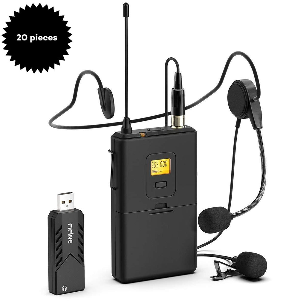 Bulk Purchase of FIFINE K031B Wireless Lavalier Microphone, Plug & Play on Mac/Windows (20 Pieces)