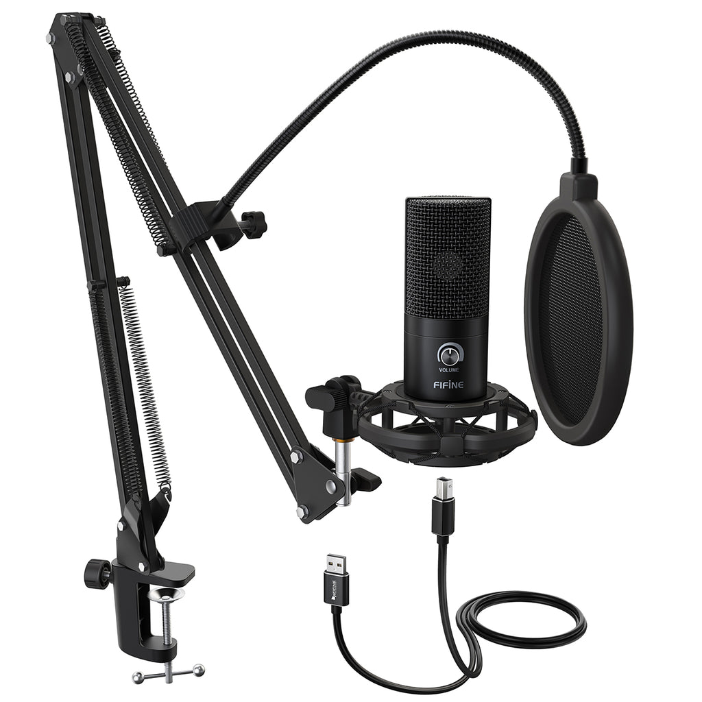 FIFINE USB Microphone with Volume Dial & Home Studio Bundle for Streaming Recording-T669