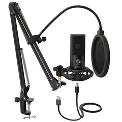 FIFINE T669 USB Mic Bundle with Arm stand, Shock Mount and Pop Filter for Streaming, Podcasting