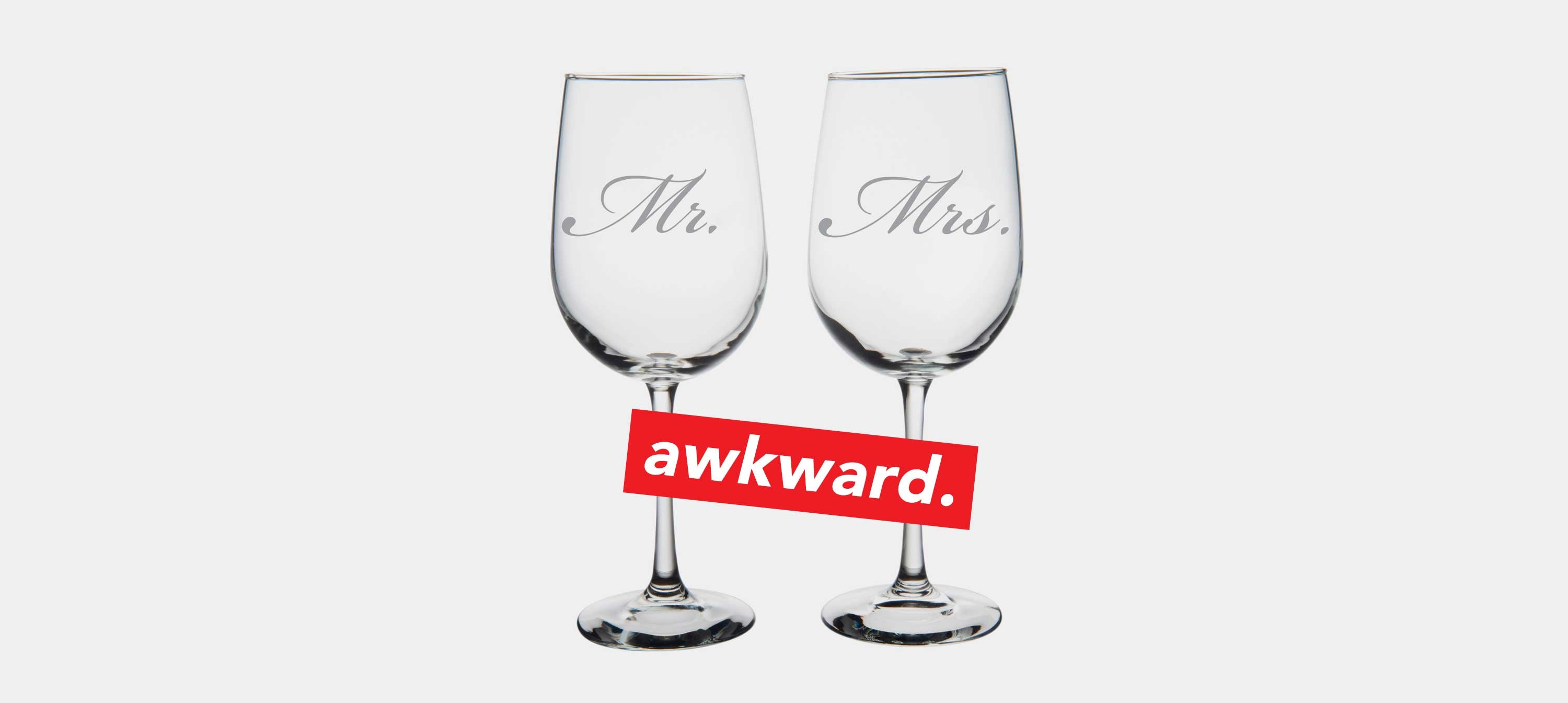 Mr & Mrs Wine Drinking Glasses