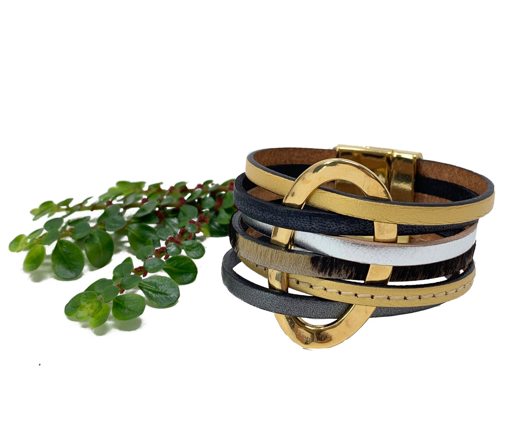 5 layers bracelet black, brown cow  leather, silver and gold