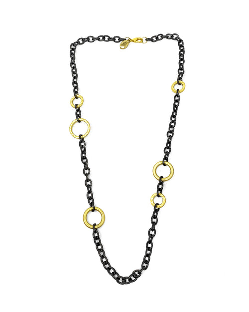 "Silver Wally chain with gold plated silver rings 24"" long"