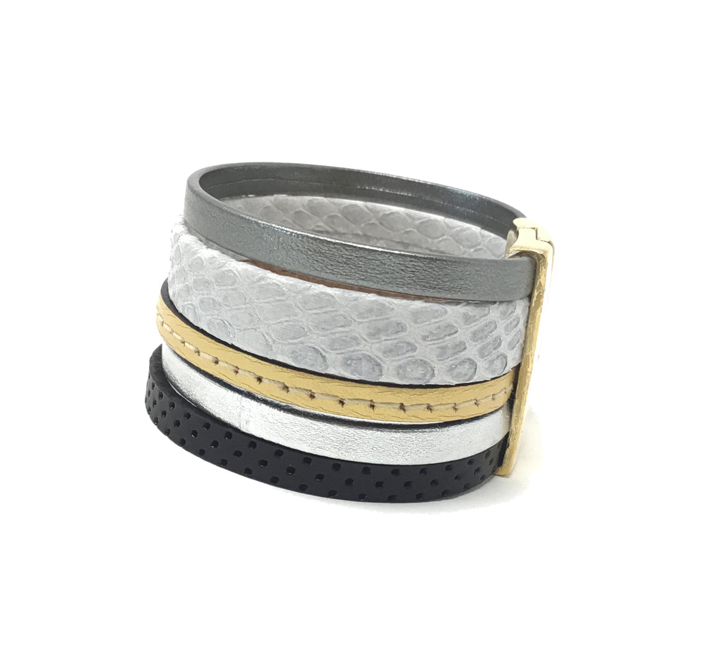 5 layers bracelet Gray color