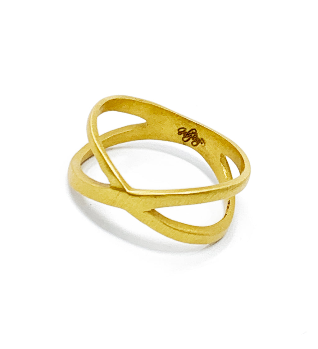X form ring gold