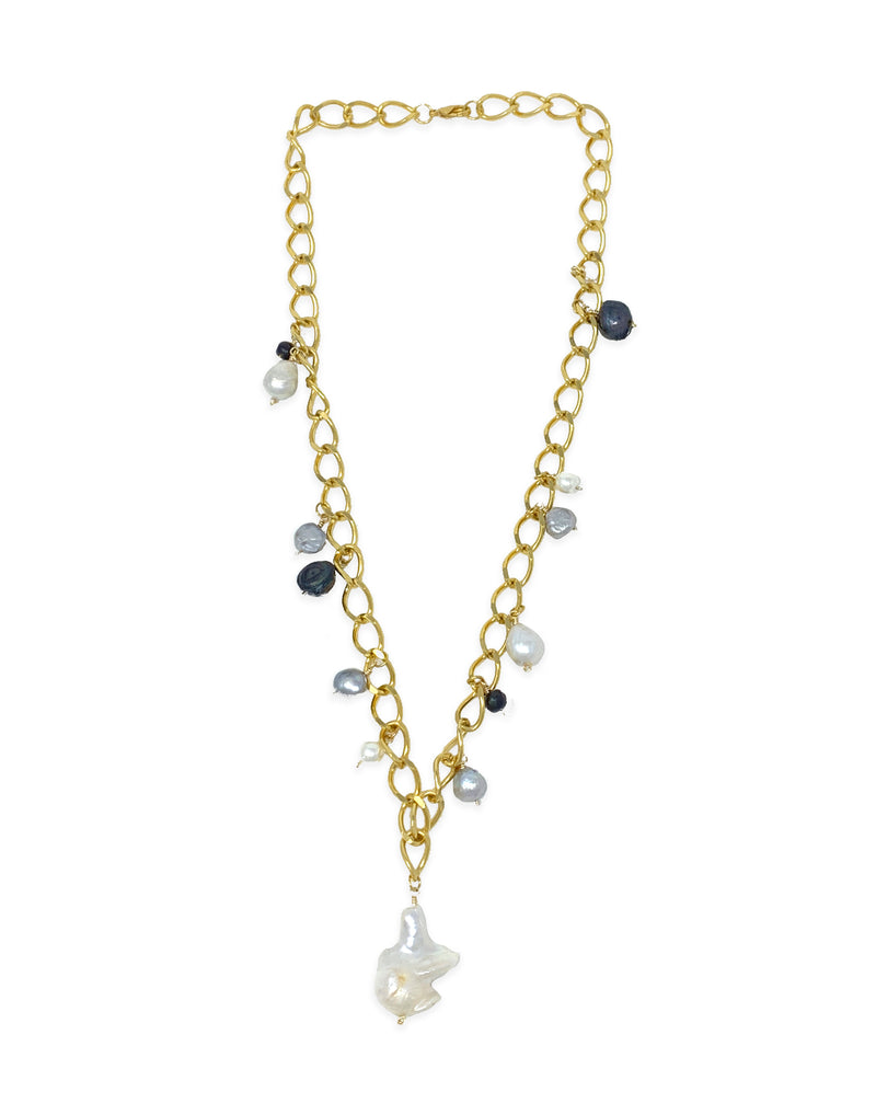 pearl stone chain necklace