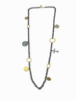 gold cross chain saint necklace
